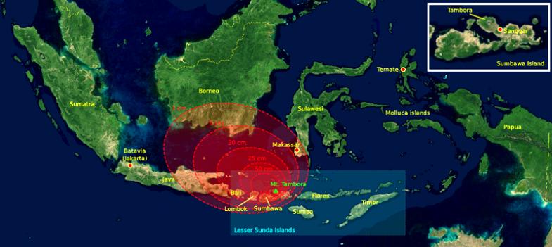Тамбора эпицентр извержения 1815 года