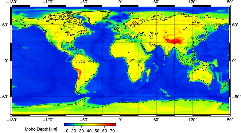 Карта глубин поверхности Мохоровичича