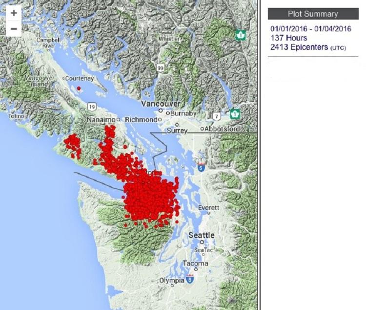 Землетрясения на Ванкувере с 1 по 4 января