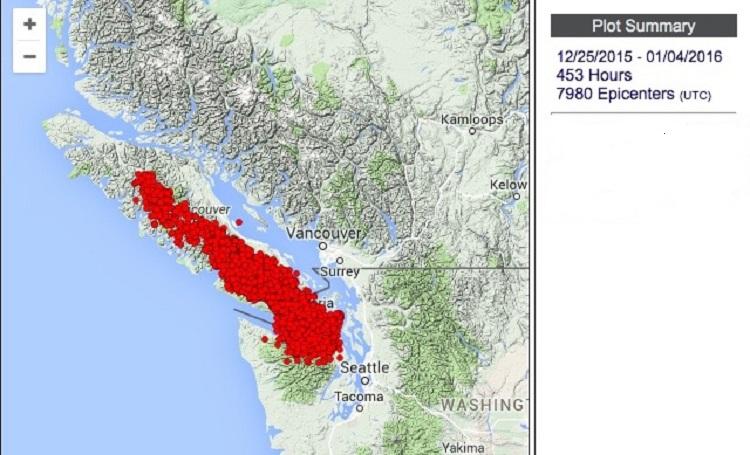 Землетрясения на Ванкувере с 25 декабря по 4 января