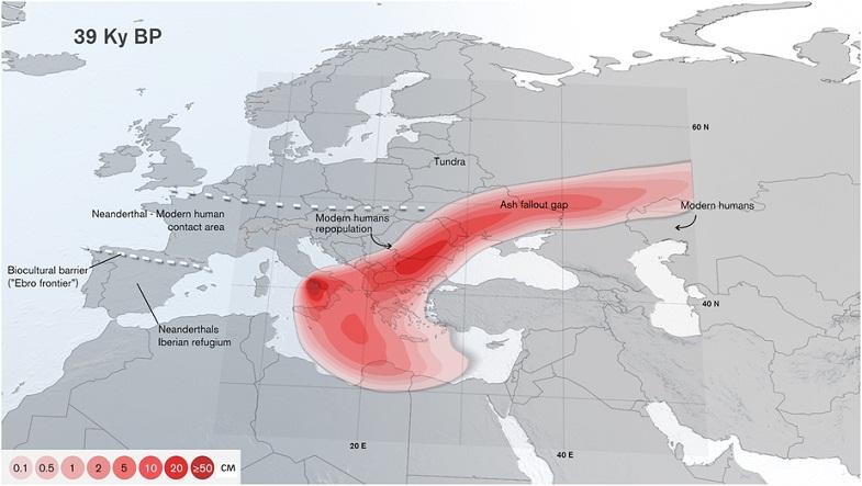 Толщина пепла в разных регионах после суперизвержения Кампи-Флегрей