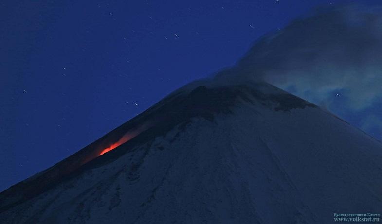 Поток лавы на Ключевском