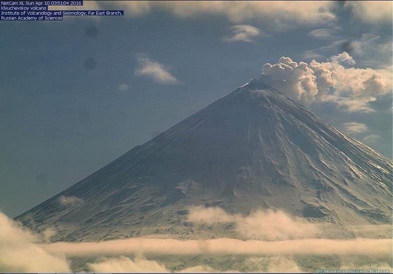 Ключевской вулкан 10 апреля