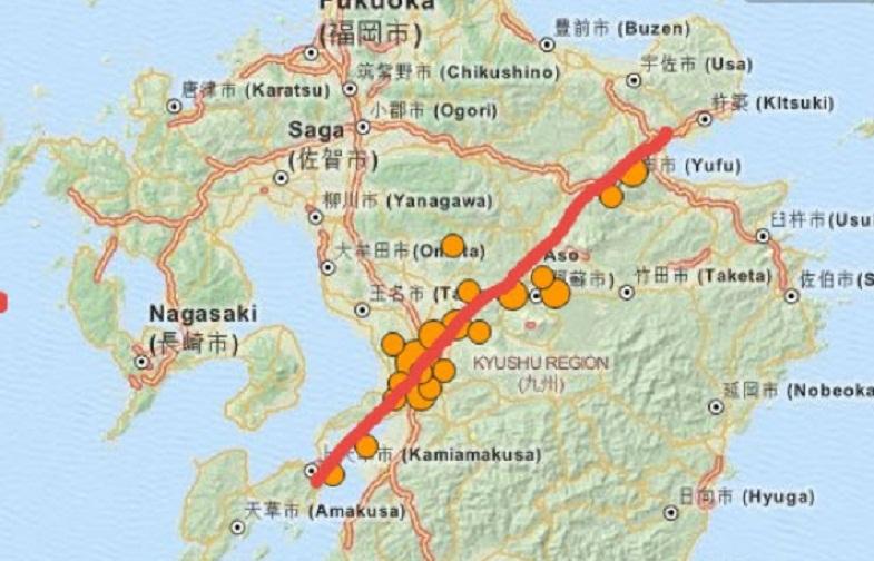 Япония эпицентры