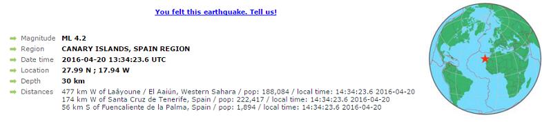 землетрясение на Канарах