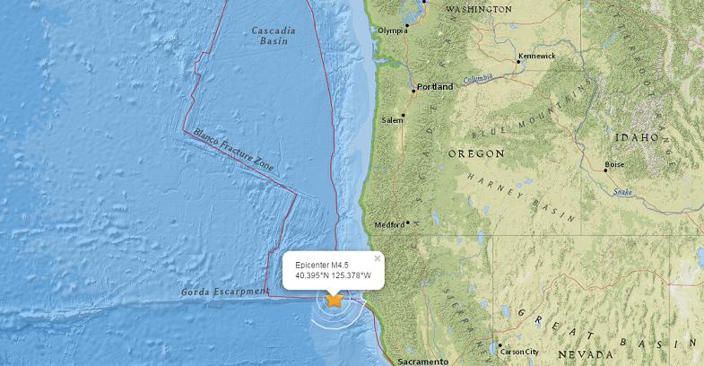 Каскадия землетрясение 27 мая