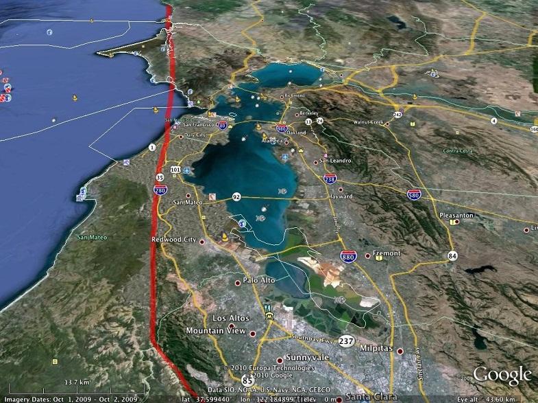Сан-Андреас на карте