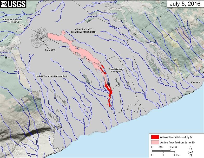 Килуауэ лавовый поток 5 июля