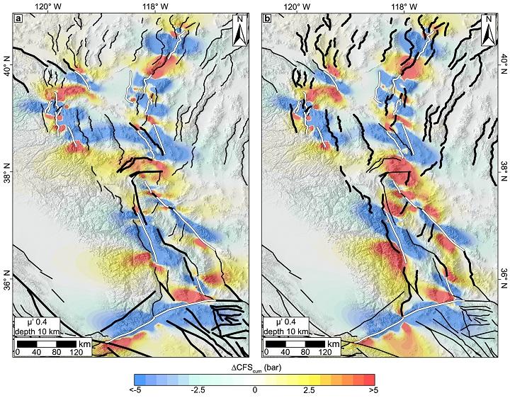 Карта разломов на границе Невады и Калифорнии