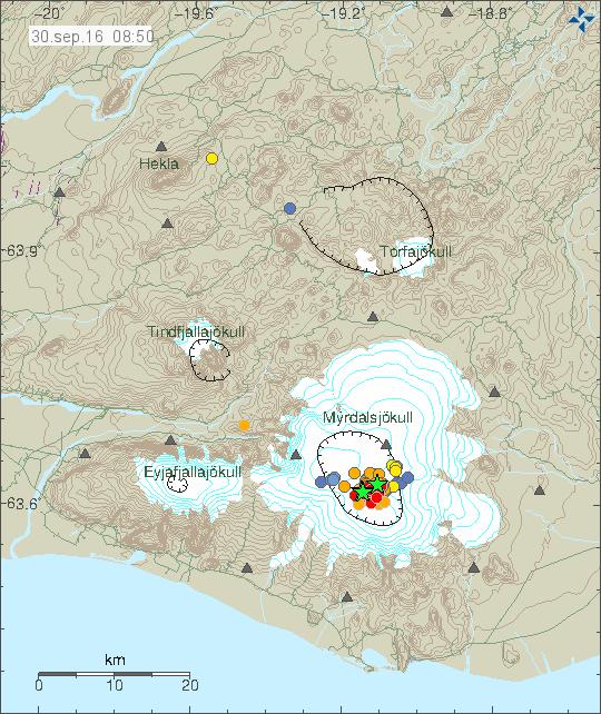 вулкан Катла землетрясения