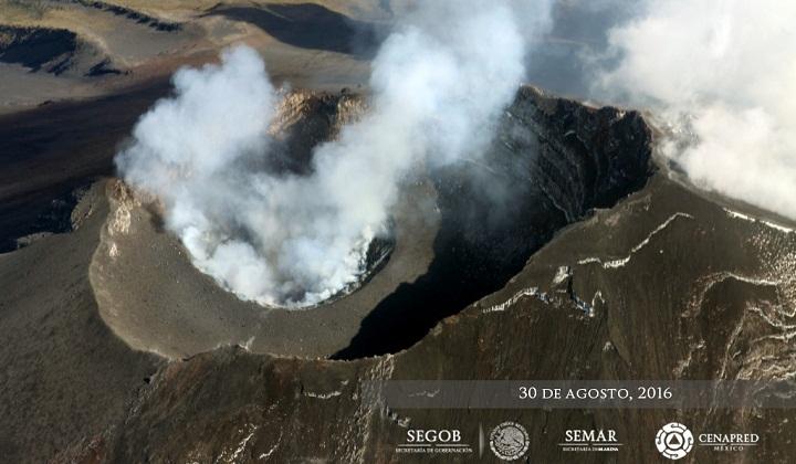 Попокатепетль кратер 30 августа