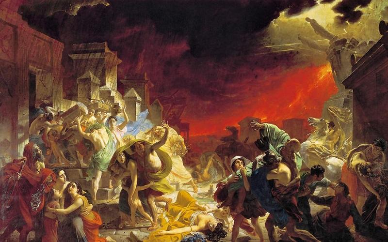 Извержение вулкана в древней греции