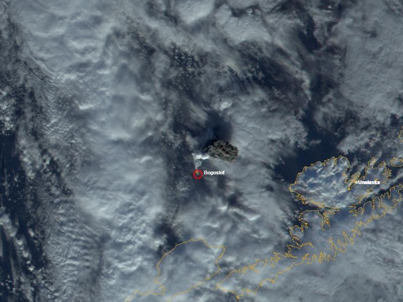 Спутниковый снимок вулкана Богослов