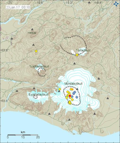 Усиление сейсмической активности вулкана Катла