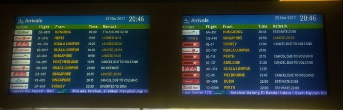 табло аэропорта бали
